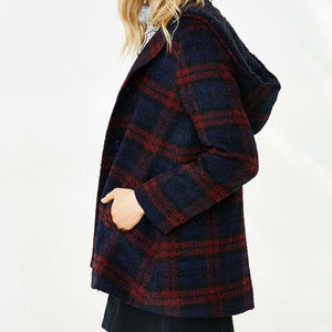 BB Dakota Kellen Plaid Sherpa Hood Jacket Red S